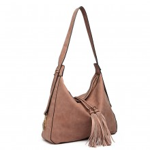 LT6854 - Miss Lulu Tassel Slouchy Hobo Style Shoulder Bag - Oak Red