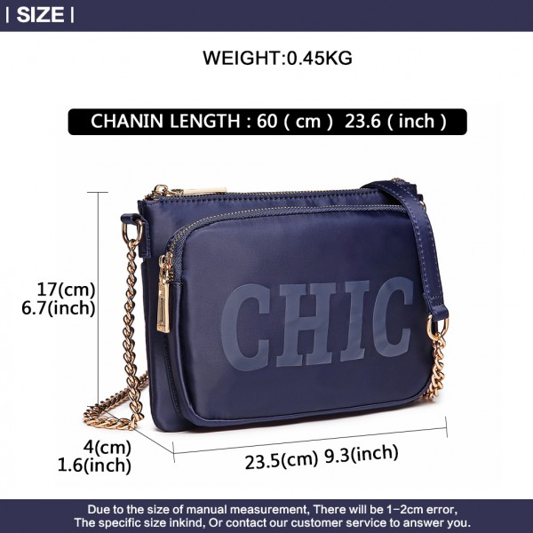 LT6855 - Miss Lulu 'Chic' Chain Shoulder Bag - Blue