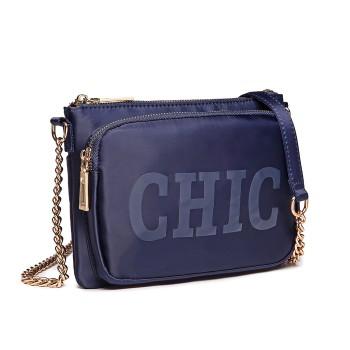 LT6855-MISS LULU POLYESTER CHAIN SHOULDER BAG ALPHABET CROSS BODY BAG BLUE