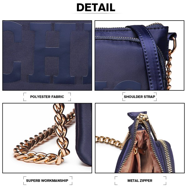 LT6855-MISS LULU POLYESTER CHAIN SHOULDER BAG ALPHABET CROSS BODY BAG BLUE