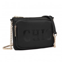 LT6855-MISS LULU SAC D'ÉPAULE EN CHAÎNE EN POLYESTER BLACK SAC CROSS BODY