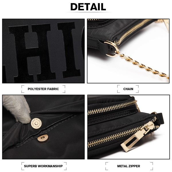 LT6855-MISS LULU POLYESTER CHAIN SHOULDER BAG ALPHABET CROSS BODY BAG BLACK