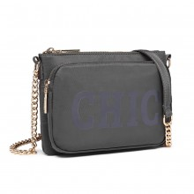 LT6855 - Miss Lulu 'Chic' Chain Shoulder Bag - Grey