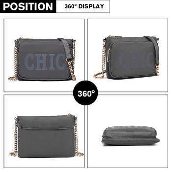 LT6855-MISS LULU POLYESTER CHAIN SHOULDER BAG ALPHABET CROSS BODY BAG GREY