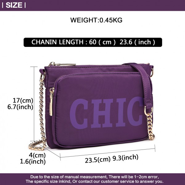 LT6855 - Miss Lulu 'Chic' Chain Shoulder Bag - Purple