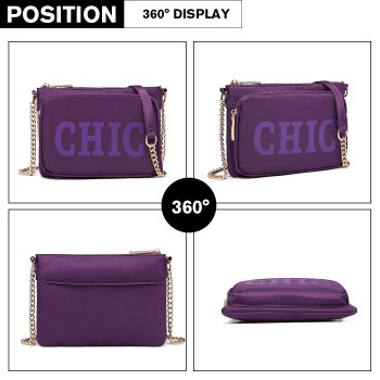 LT6855-MISS LULU POLYESTER CHAIN SHOULDER BAG ALPHABET CROSS BODY BAG PURPLE