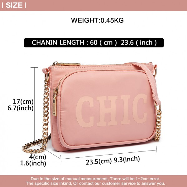 LT6855-MISS LULU POLYESTER CHAIN SHOULDER BAG ALPHABET CROSS BODY BAG PINK