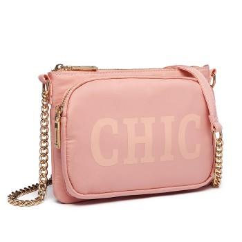 LT6855-MISS LULU POLYESTER CHAIN SHOULDER BAG ALPHABET CROSS BODY BAG PINK