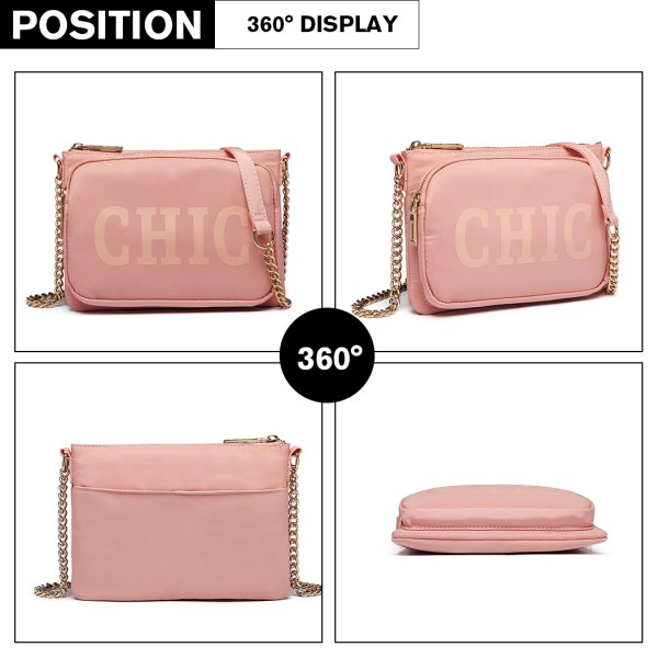 LT6855 - Miss Lulu 'Chic' Chain Shoulder Bag - Pink