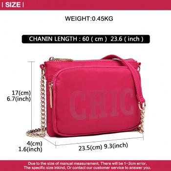 LT6855-MISS LULU POLYESTER CHAIN SHOULDER BAG ALPHABET CROSS BODY BAG PLUM
