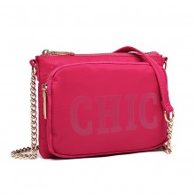 LT6855 - Miss Lulu 'Chic' Chain Shoulder Bag - Plum