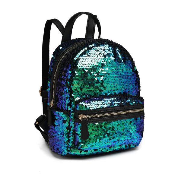 LT6856 - Miss Lulu Iridescent Sequin Midi Backpack - Blue