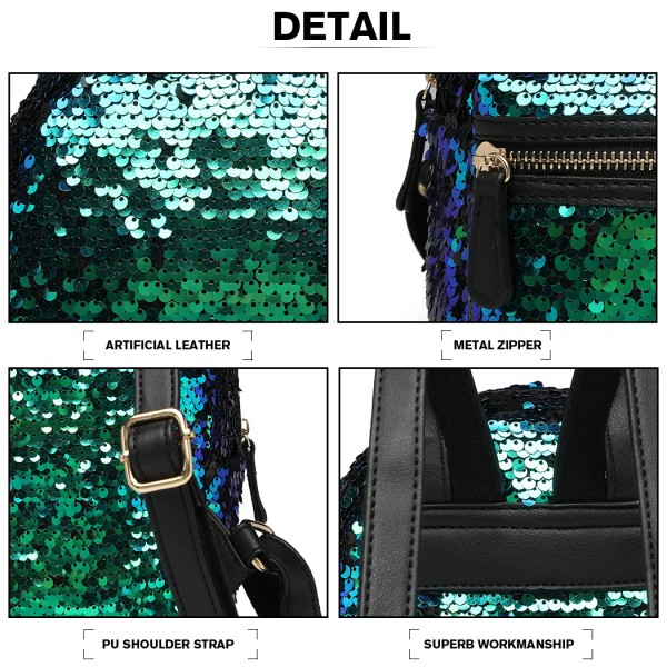 LT6856 - Miss Lulu Iridescent Sequin Midi Backpack - Blue