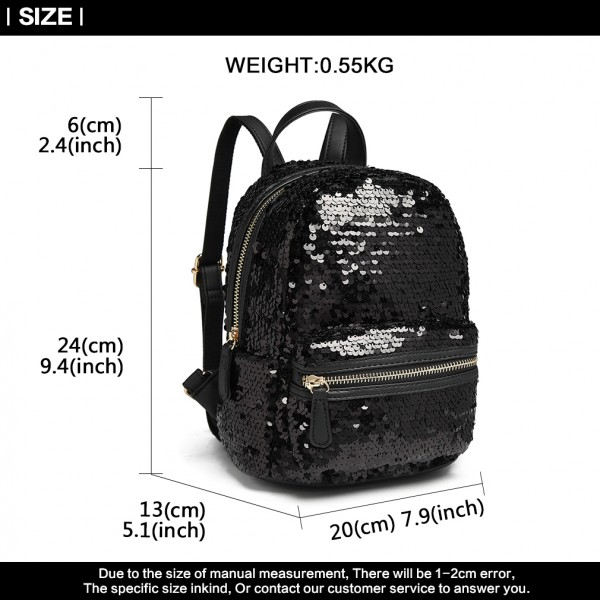 LT6856 - Miss Lulu Iridescent Sequin Midi Backpack - Black