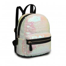 LT6856 - Miss Lulu Iridescent Sequin Midi Backpack - Pink