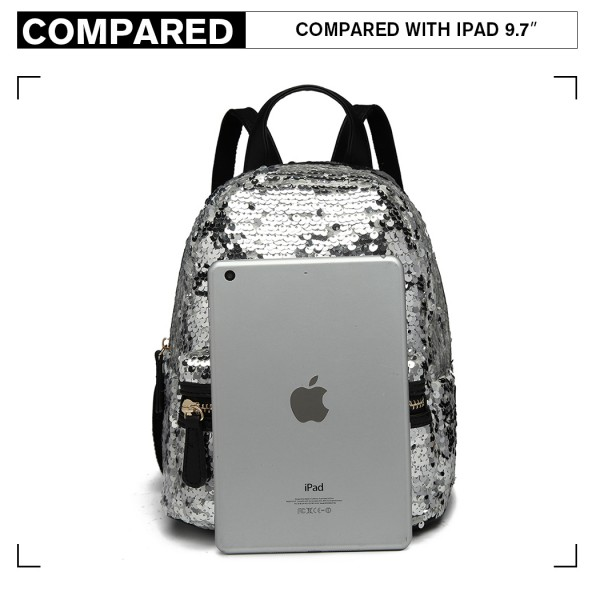 LT6856-MISS LULU SEQUINS BACKPACK FRONT POCKET RUCKSACK SILVER