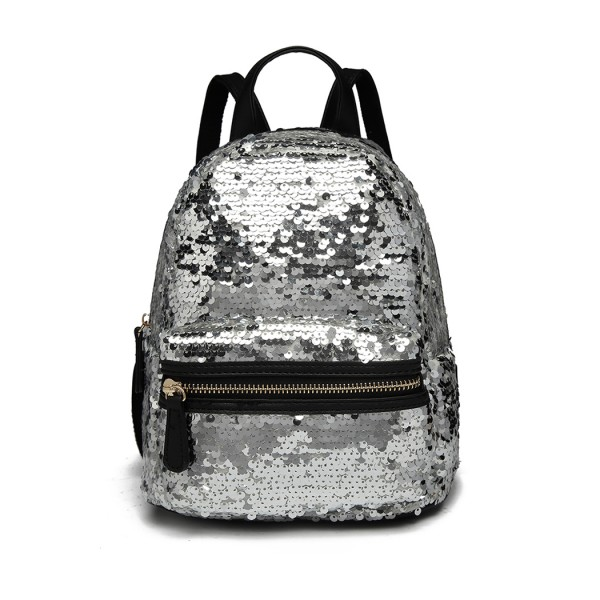 LT6856 - Miss Lulu Iridescent Sequin Midi Backpack - Silver