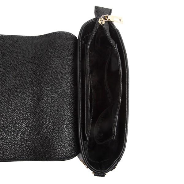 LT6858 - Miss Lulu Mini Studded Satchel Style Cross Body Bag - Black