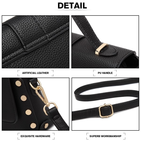 LT6858 - Miss Lulu Mini Studded Satchel Style Cross Body Bag - Black