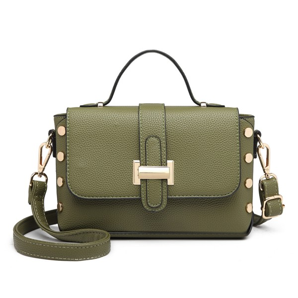 LT6858 - Miss Lulu Mini Studded Satchel Style Cross Body Bag - Green
