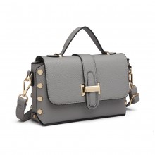LT6858 - Miss Lulu Mini Studded Satchel Style Cross Body Bag - Grey