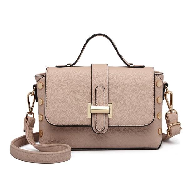 LT6858 - Miss Lulu Mini Studded Satchel Style Cross Body Bag - Pink