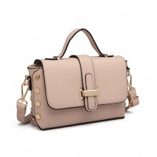 LT6858 - Miss Lulu Mini Studded Satchel Style Cross Body Bag - Pink