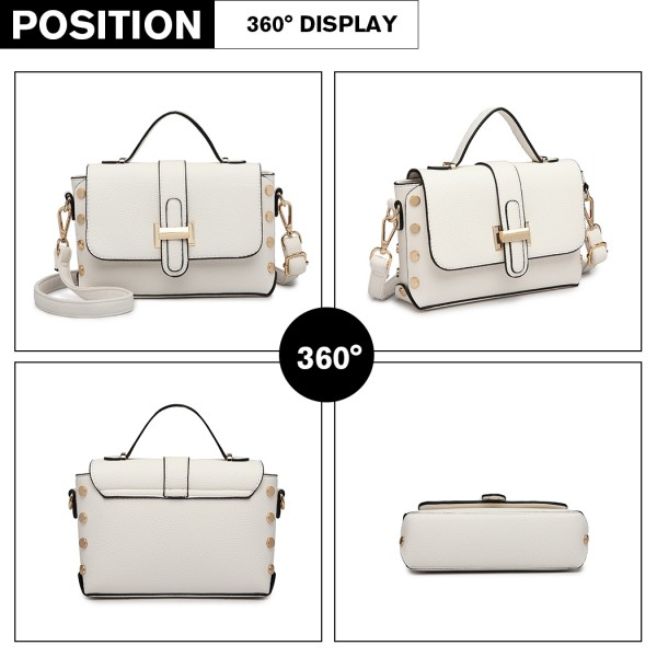 LT6858 - Miss Lulu Mini Studded Satchel Style Cross Body Bag - White