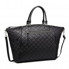 LT6859-MISS LULU LEATHER RHOMBUS DESIGN Ex-Large QUILTED SHOULDER BAG BLACK