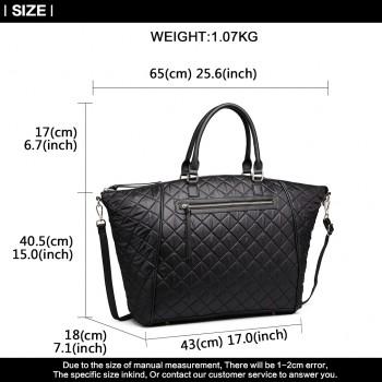 LT6859-MISS LULU LEATHER RHOMBUS DESIGN HANDBAG QUILTED SHOULDER BAG BLACK