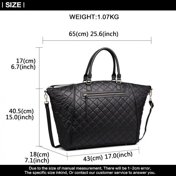LT6859-MISS LULU LEATHER RHOMBUS DESIGN Ex-Large QUILTED SHOULDER BAG BLACK