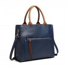 LT6860 - Miss Lulu Front Pocket Square Handbag - Blue
