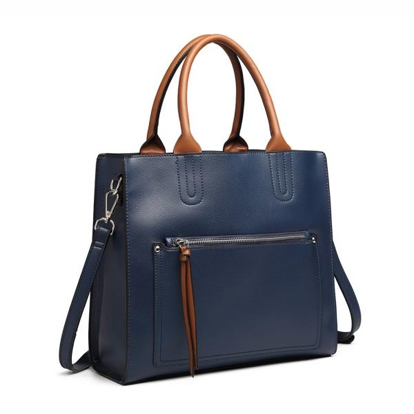 LT6860 - Miss Lulu Front Pocket Square Handbag - Blue