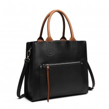 LT6860 - Miss Lulu Front Pocket Square Handbag - Black