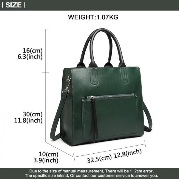 LT6860 - Miss Lulu Front Pocket Square Handbag - Green