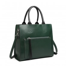 LT6860 - Miss Lulu Front Pocket Square Handbag - Green