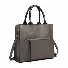 LT6860 - Miss Lulu Front Pocket Square Handbag - Grey