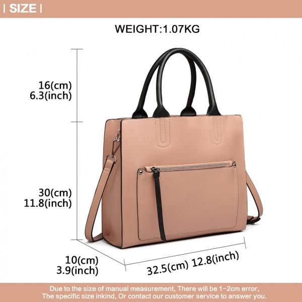 LT6860 - Miss Lulu Front Pocket Square Handbag - Pink