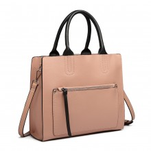 LT6860 - Miss Lulu Front Pocket Square Handbag - Pink