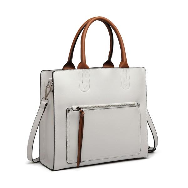 LT6860 - Miss Lulu Front Pocket Square Handbag - White