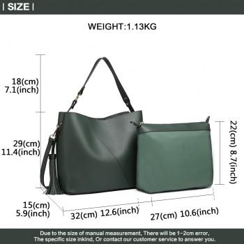 LT6862-MISS LULU LEATHER 2 PCS SET TASSEL PENDANT HANDBAG SHOULDER BAG GREEN