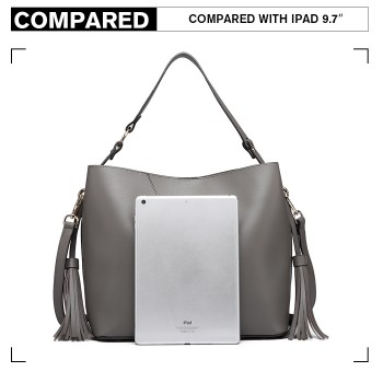 LT6862-MISS LULU LEATHER 2 PCS SET TASSEL PENDANT HANDBAG SHOULDER BAG GREY
