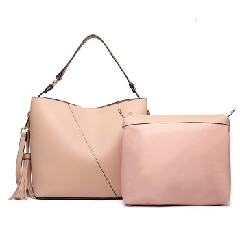 LT6862-MISS LULU LEATHER 2 PCS SET TASSEL PENDANT HANDBAG SHOULDER BAG PINK