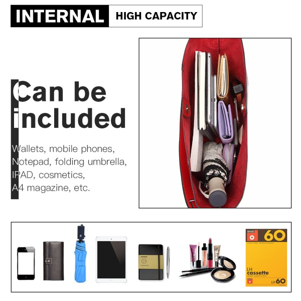 LT6862 -Miss Lulu 2 Piece Tassel Pendant Handbag Set - Red