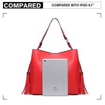 LT6862-MISS LULU LEATHER 2 PCS SET TASSEL PENDANT HANDBAG SHOULDER BAG RED