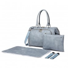 LT6863 - Miss Lulu Leather Look 3 Piece Changing Bag Set - Blue