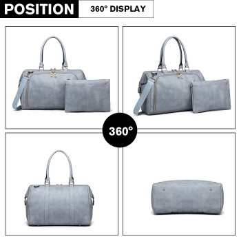 LT6863-MISS LULU LEATHER 3PCS SET MATERNITY CHANGING BAG SHOULDER BAG BLUE