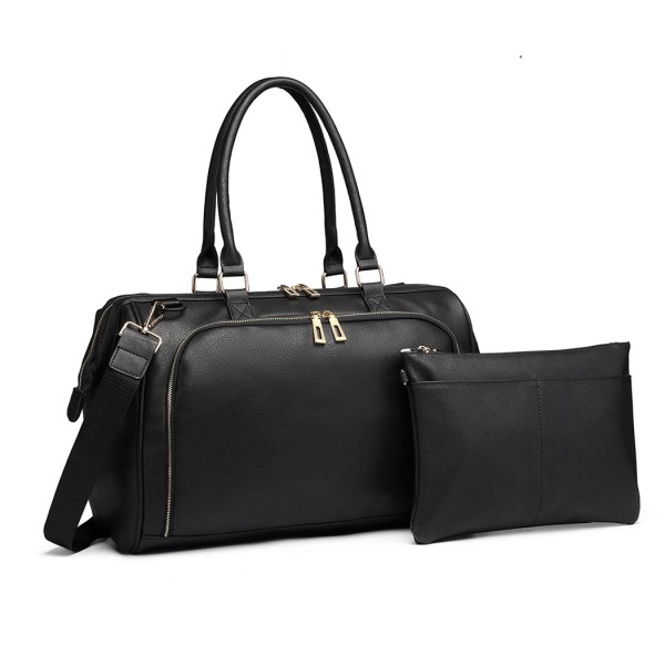 LT6863 - Miss Lulu Leather Look 3 Piece Changing Bag Set - Black