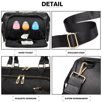 LT6863-MISS LULU LEATHER 3PCS SET MATERNITY CHANGING BAG SHOULDER BAG BLACK