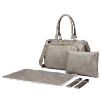 LT6863-MISS LULU LEATHER 3PCS SET MATERNITY CHANGING BAG SHOULDER BAG GREY